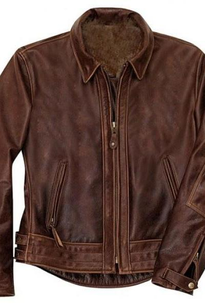 Brown Antique Leather Jacket Men Pure Lambskin Biker Jacket Size S M L XL XXL