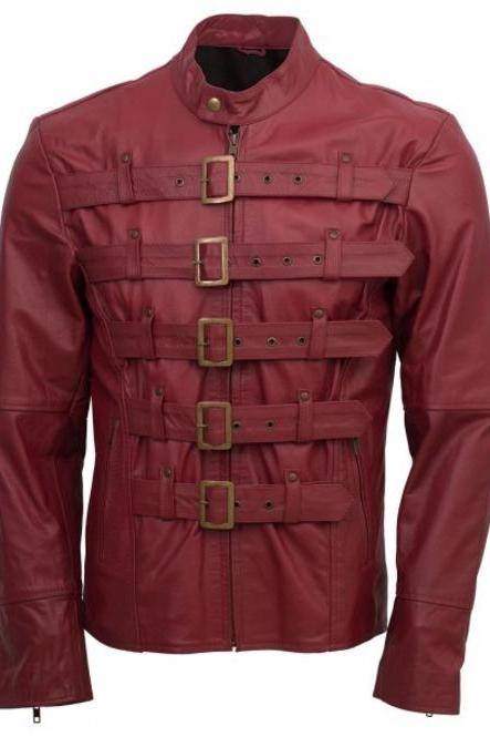 Designer Men Maroon Belted Fashion Leather Jacket Men Military Style Jacket