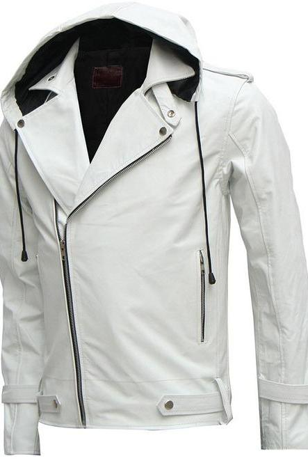 Designer New Magnificent White Men's Hooded Leather Jacket Men Style Jacket