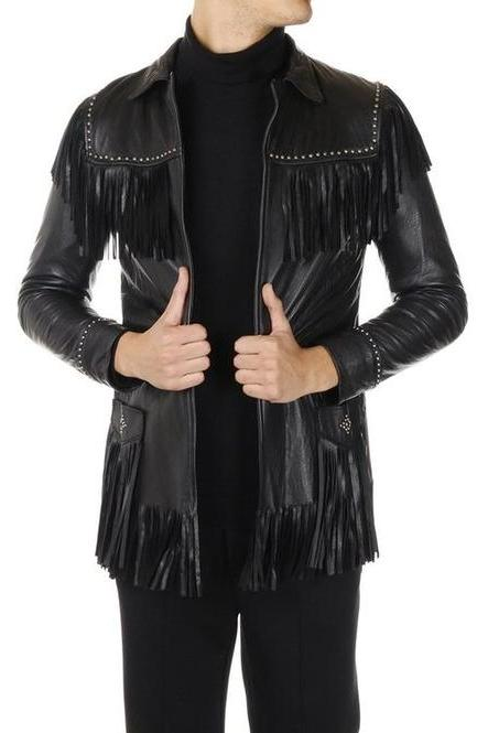 Men Western Leather Jacket Wear Fringes Beads Native American Cowboy Coat