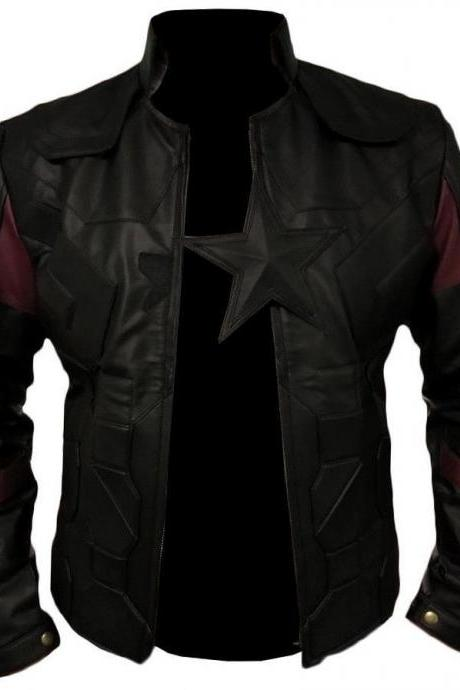 Men's Captain America Avengers Infinity War Chris Evans Black Leather Jacket
