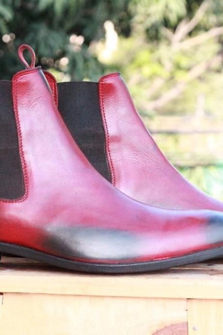 Handmade Ankle High Burgundy Chelsea Leather Boots For Mens