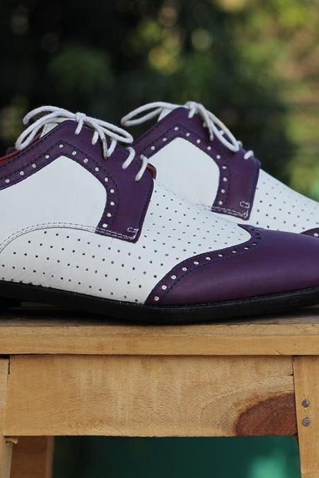New Handmade White And Purple Wing Tip Lace Up Leather Shoes