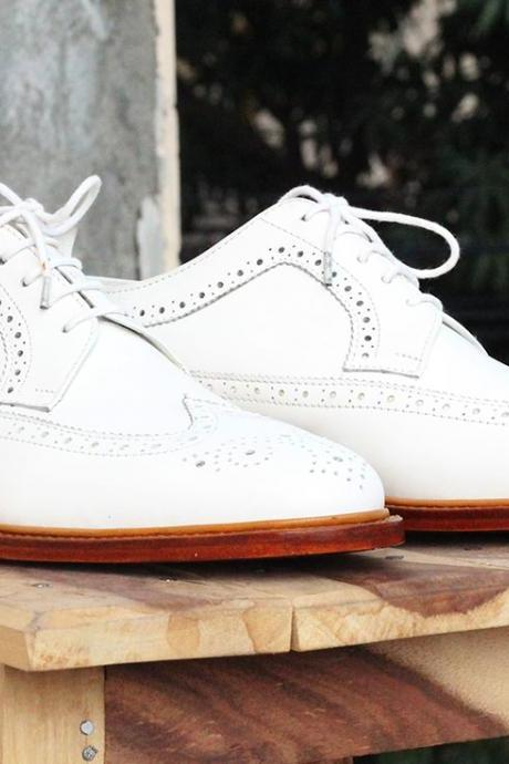 New Handmade White Wing Tip Brogue Lace Up Leather Shoes
