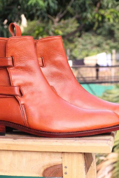 Handmade Ankle High Tan Buckle Leather boots For Mens