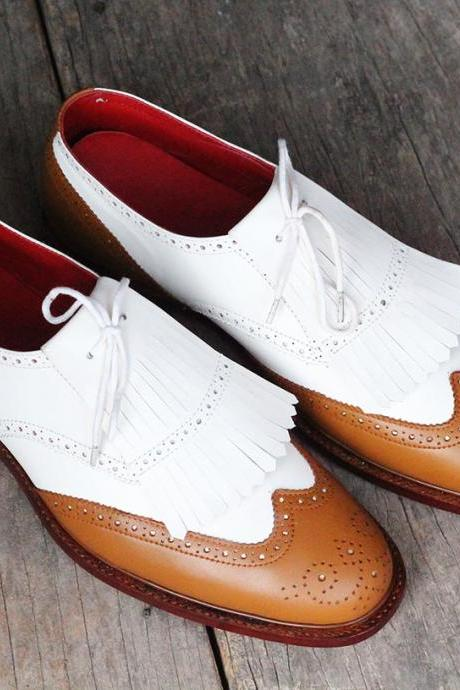 New Handmade White Brown Wing Tip Brogue Fringe Leather Shoes