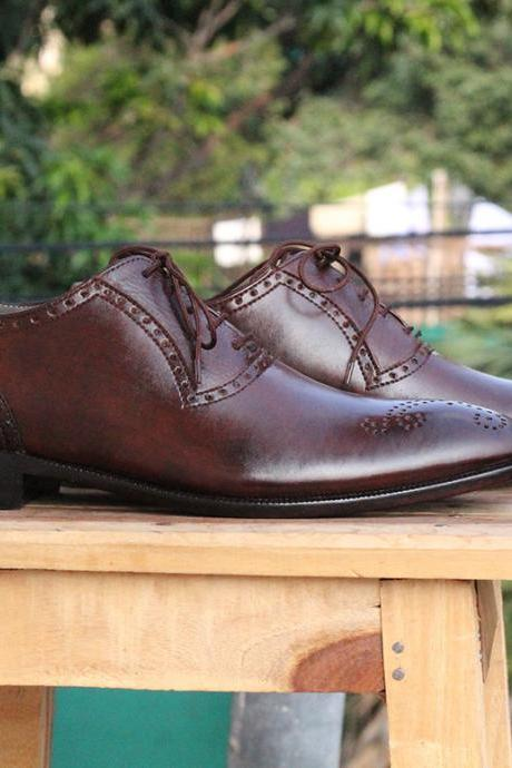 New Handmade Burgundy Brogue Lace Up Leather Shoes For Mens