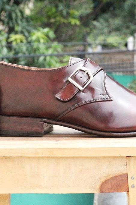 New Handmade Two Tone Monk Strap Leather Shoes For Mens