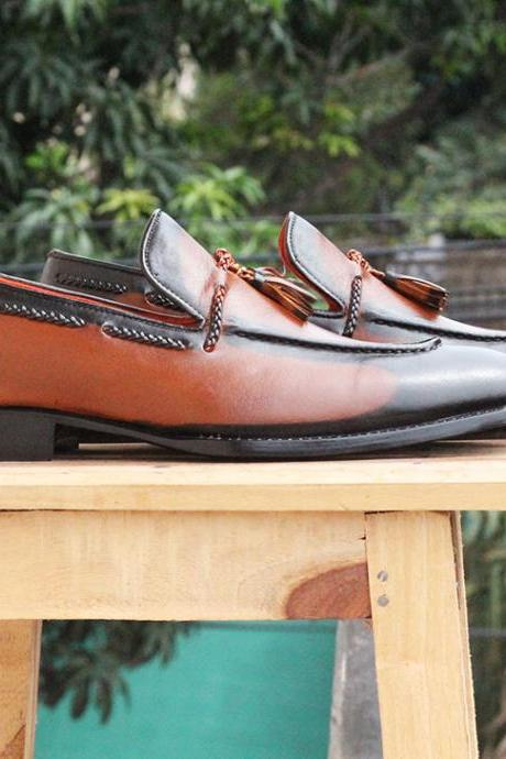 New Handmade Brown Black Leather Tussle Loafers For Mens