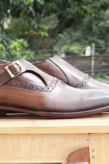 New Handmade Brown Monk Strap Leather Shoes For Mens