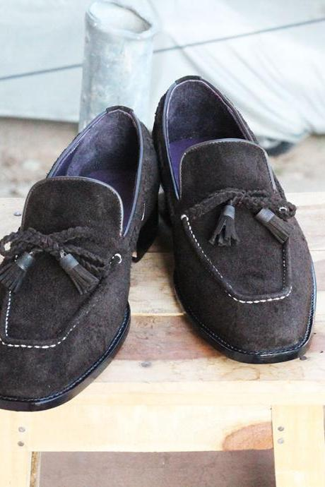 New Handmade Black Round Toe Tussle Suede Loafers For Mens
