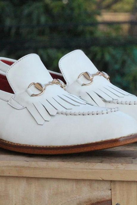 New Handmade White Leather Fringe Loafers For Mens