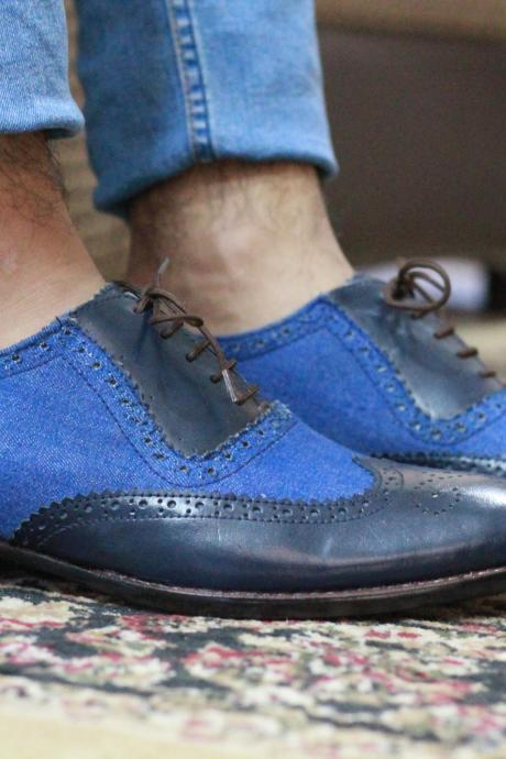 New Handmade Black Blue Wing Tip Brogue Lace Up Denim Leather Shoes