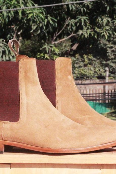 Handmade Ankle High Beige Chelsea Suede Boots For Mens
