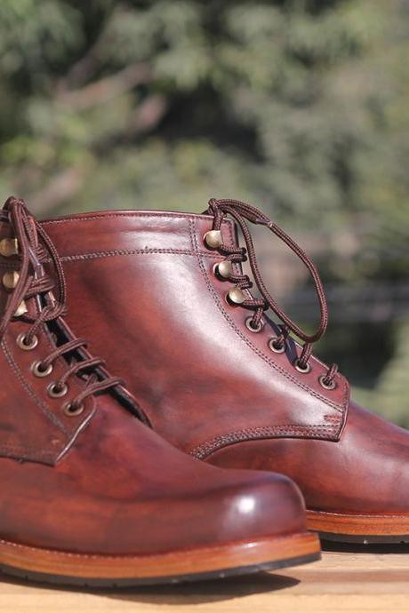Handmade Ankle High Brown Hand Panted Leather Lace Up Boots For Mens