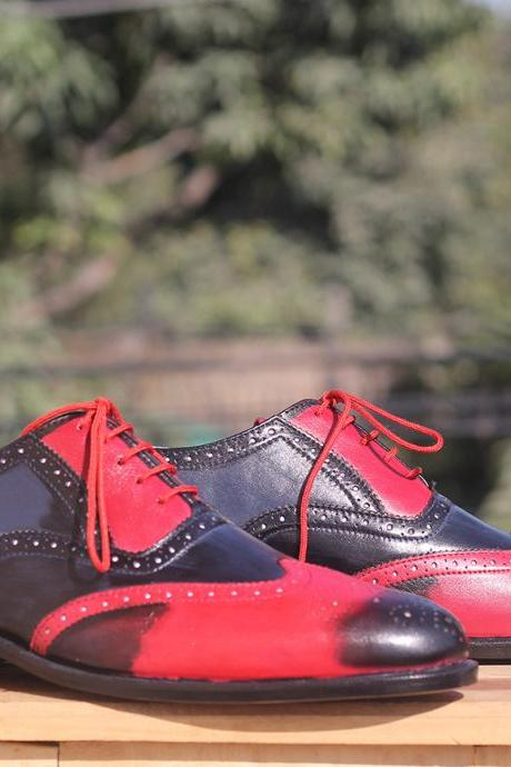 New Handmade Multi Color Wing Tip Brogue Lace Up Leather Shoes