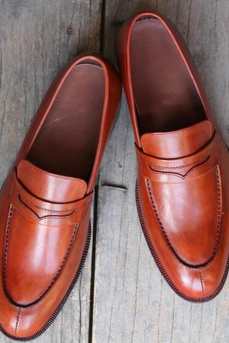 New Handmade Tan Split Toe Leather Penny Loafers For Men,s