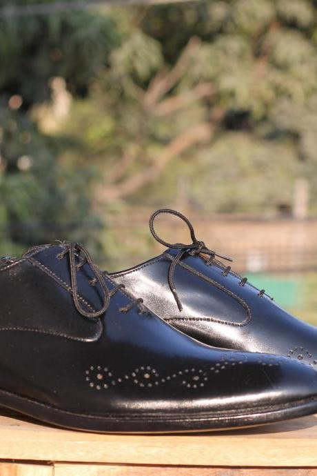 New Stylish Handmade Black Brogue Lace Up Leather Shoes