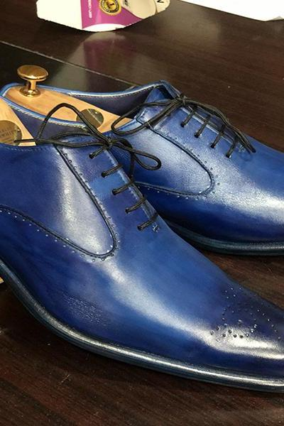 New Handmade Blue Brogue Lace Up Leather Shoes For Men's