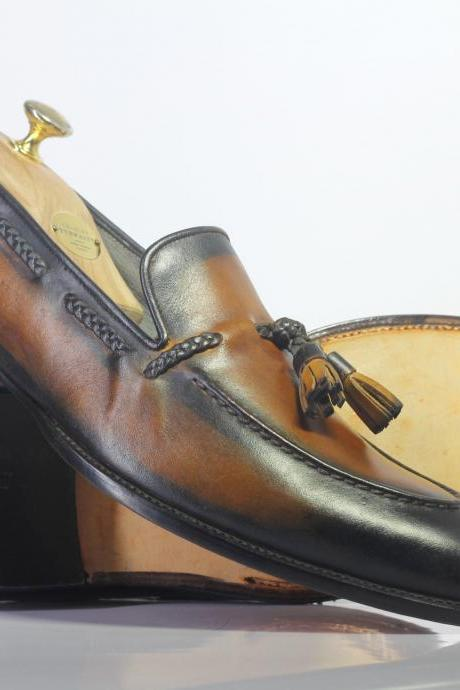 New Handmade Black & Brown Tussles Leather Loafers For Men,s