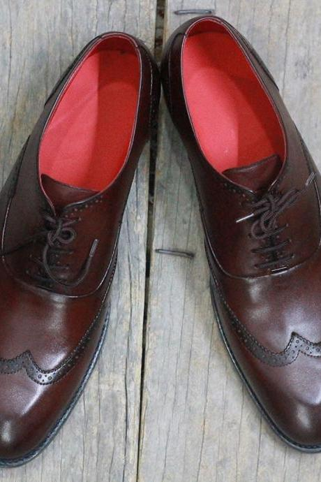 New Handmade Chocolate Brown Wing Tip Lace Up Leather Shoes For Men's