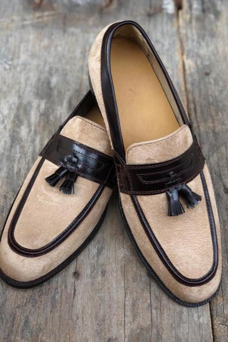 New Handmade Black & Beige Tussles Leather Suede Loafers For Men,s