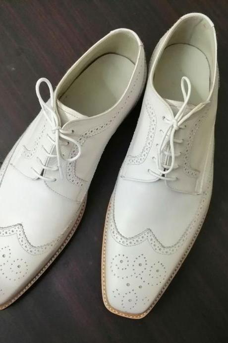 New Handmade White Wing Tip Brogue Lace Up Leather Shoes For Men's