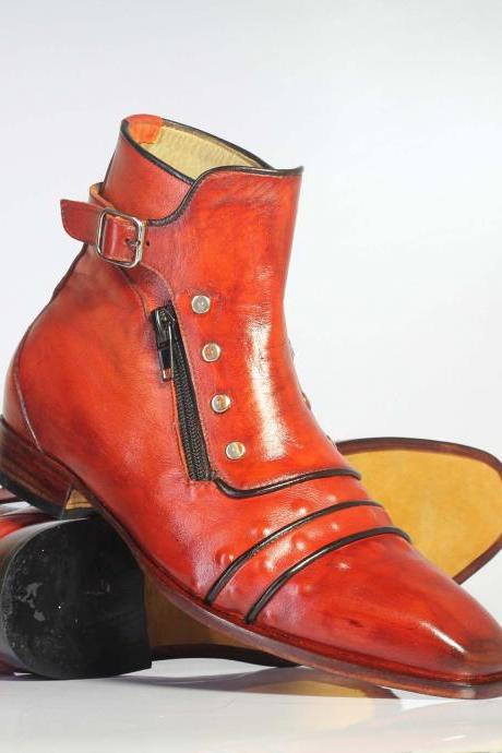 Handmade Ankle High Orange Jodhpurs Monk Steps Side Zip Leather Boots For Men's