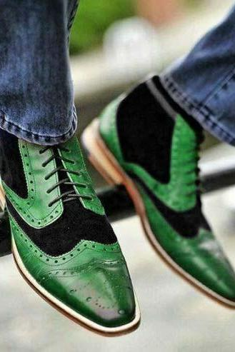 New Handmade Black & Green Wing Tip Lace Up Leather Suede Shoes For Men's
