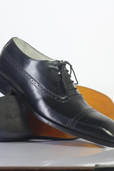 New Handmade Black Brogue Cap Toe Lace Up Leather Shoes For Men's