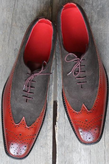 New Handmade Gray & Red Wing Tip Brogue Lace Up Leather Shoes