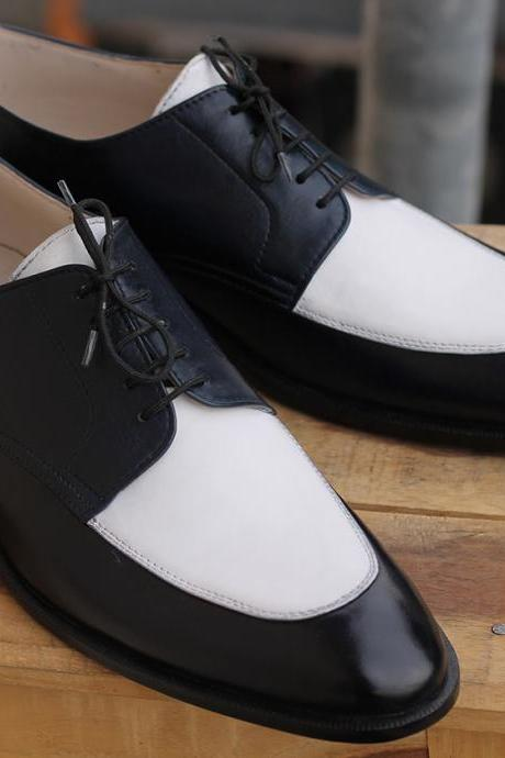 New Stylish Handmade White & Black Leather Lace Up Shoes For Men's