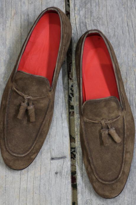 New Handmade Brown Round Toe Tussle Suede Loafers For Men's