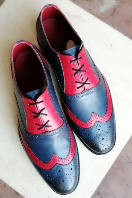 New Handmade Pink & Navy Blue Wing Tip Brogue Lace Up Leather Shoes