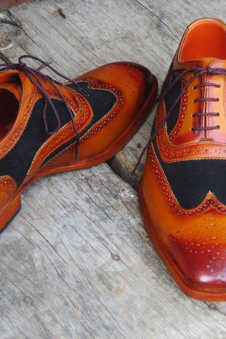 New Handmade Black & Tan Wing Tip Brogue Lace Up Leather Shoes