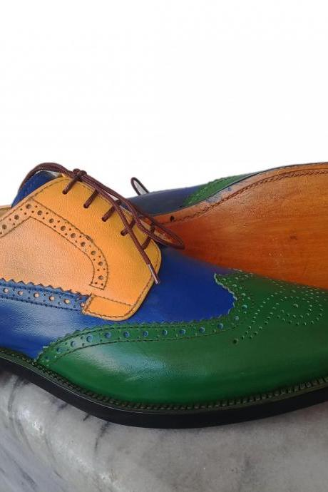 New Handmade Multi Color Wing Tip Brogue Lace Up Leather Shoes For Men's