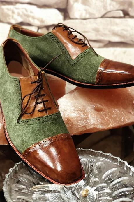 New Handmade Tan & Green Lace Up Leather Suede Shoes For Men's
