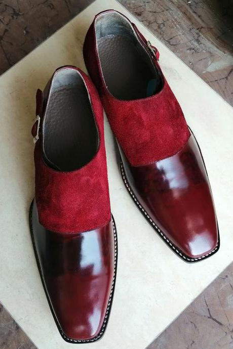 New Handmade Red Chukka Monk Straps Leather Suede Shoes For Men's