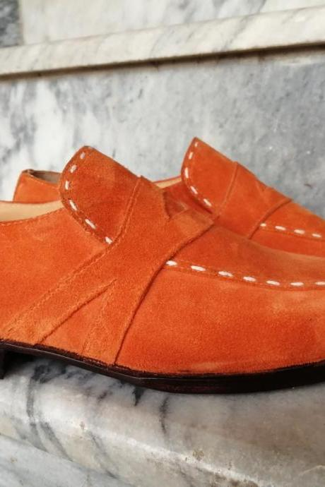 New Handmade Orange Round Toe Suede Stylish Shoes For Men's