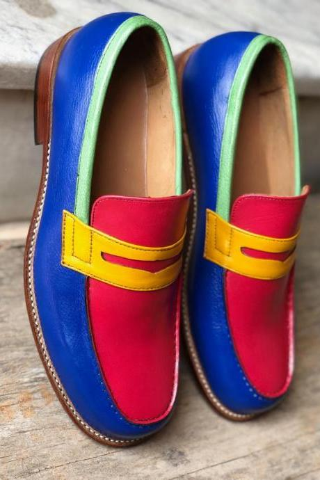 New Handmade Multi Color Leather Loafers For Men,s