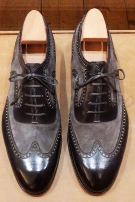 New Handmade Black & Gray Wing Tip Lace Up Leather Suede Shoes
