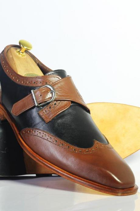 New Handmade Black & Brown Wing Tip Monk Steps Leather Shoes For Men's