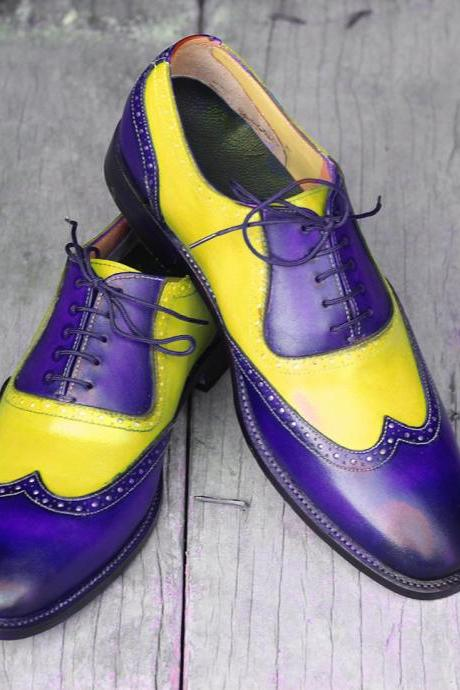 New Handmade Purple & Yellow Wing Tip Lace Up Leather Shoes For Men's