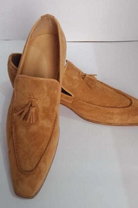 New Handmade Beige Tussles Suede Loafers For Men,s