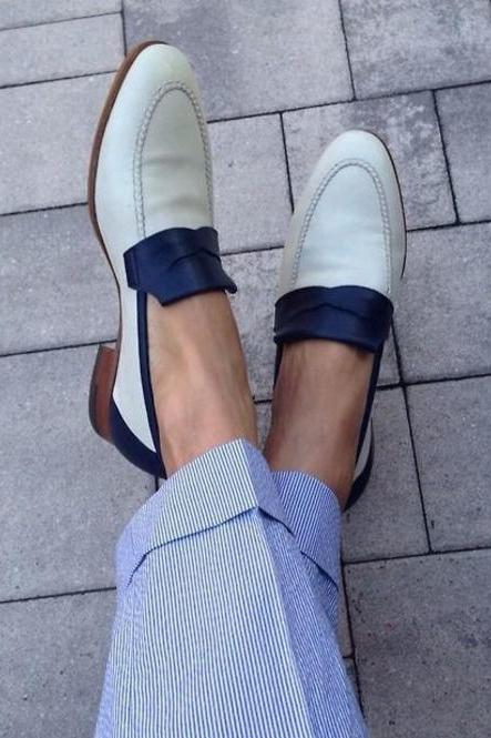New Handmade White & Blue Leather Loafers For Men,s