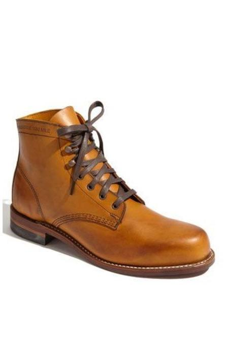Handmade Ankle High Tan Color Lace Up Leather Boots For Men's