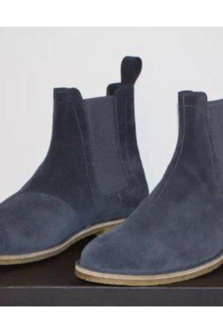 Handmade Ankle High Gray Chelsea Suede Boots For Mens