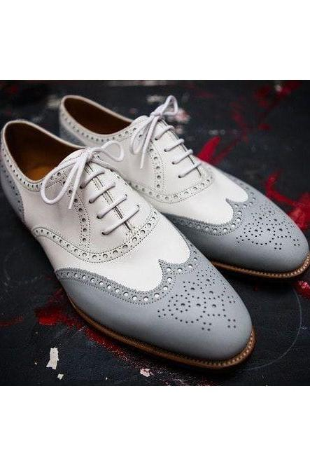 New Handmade White & Gray Wing Tip Brogue Lace Up Leather Shoes For Men's