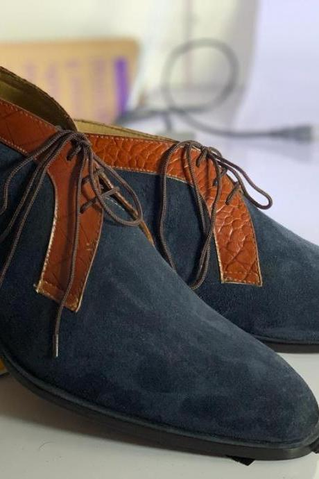 Handmade Ankle High Navy Blue Round Toe Suede Lace up Boots For Men's