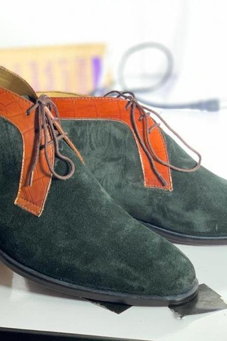 Handmade Ankle High Green Round Toe Suede Lace up Boots For Men's